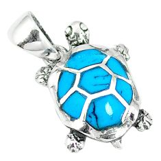 Clearance Sale-Fine blue turquoise enamel 925 sterling silver turtle pendant jewelry a55411
