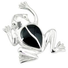 Clearance Sale-Black onyx enamel 925 sterling silver frog pendant jewelry a55451