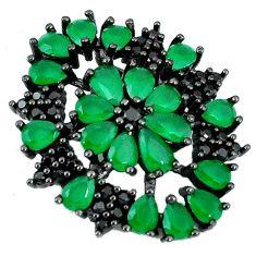 Clearance Sale-Green emerald quartz black rhodium topaz 925 sterling silver pendant a55874