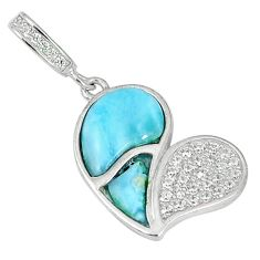 Clearance Sale-Natural blue larimar topaz 925 sterling silver pendant jewelry a56878