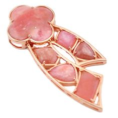 Natural pink opal 925 sterling silver 14k rose gold pendant jewelry a59141