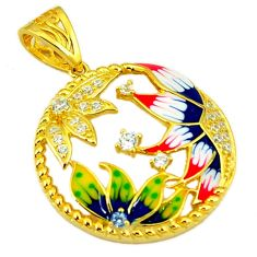 925 sterling silver natural white topaz enamel 14k gold pendant jewelry a59930