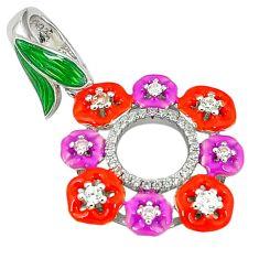 925 sterling silver natural white topaz multi color enamel pendant a59979