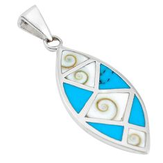 925 silver white shiva eye turquoise enamel pendant jewelry a60530