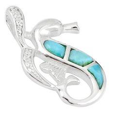 Natural blue larimar topaz 925 sterling silver seahorse pendant a60605