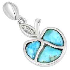 925 sterling silver natural blue larimar fancy topaz pendant jewelry a60653