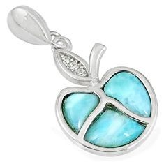925 sterling silver natural blue larimar white topaz pendant jewelry a60680