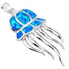 Natural blue australian opal (lab) 925 sterling silver octopus pendant a61341