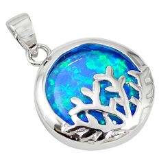 925 sterling silver natural blue australian opal (lab) pendant jewelry a61394