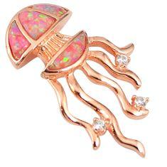 Pink australian opal (lab) 925 silver 14k rose gold octopus pendant a61676