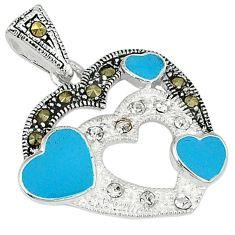 Natural white topaz marcasite enamel 925 sterling silver heart pendant a62305
