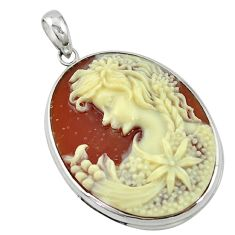 White lady flower cameo 925 sterling silver pendant jewelry a63654