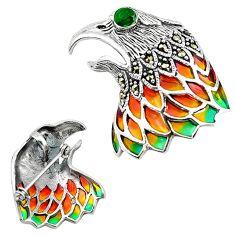 Art nouveau emerald quartz marcasite enamel 925 silver brooch pendant a63785