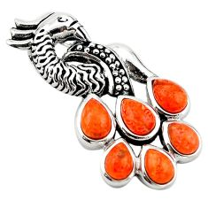 Southwestern red copper turquoise 925 sterling silver pendant a64269