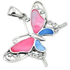 Multi color blister pearl enamel 925 silver butterfly pendant a64499