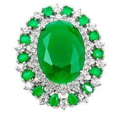 Natural green chalcedony white topaz 925 sterling silver pendant a65165