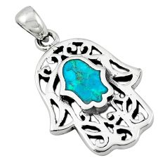 Green turquoise tibetan 925 silver hand of god hamsa pendant jewelry a65559