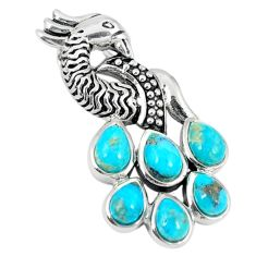 Southwestern blue copper turquoise 925 silver peacock pendant a67285