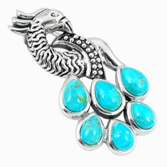 Southwestern blue copper turquoise 925 silver peacock pendant a67287