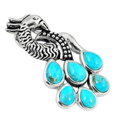 Southwestern blue copper turquoise 925 silver peacock pendant a67288
