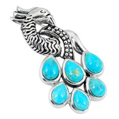 Southwestern blue copper turquoise 925 silver peacock pendant jewelry a67289