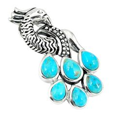 Southwestern blue copper turquoise 925 silver peacock pendant a67296
