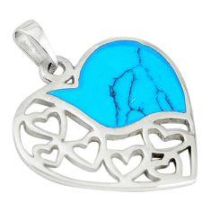 Fine blue turquoise enamel 925 sterling silver heart pendant a67747