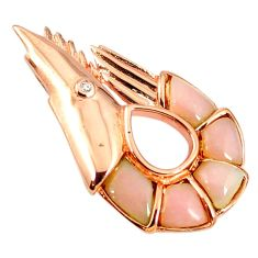 Natural pink opal topaz 925 sterling silver 14k rose gold pendant a68408
