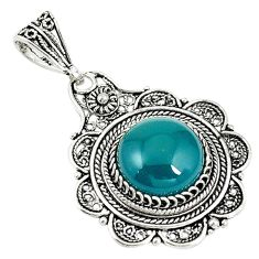 Natural green chalcedony 925 sterling silver pendant jewelry a69041