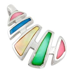 Multi color blister pearl enamel 925 sterling silver pendant jewelry a69747