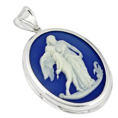White mother baby love cameo 925 sterling silver pendant jewelry a70003