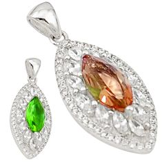 925 sterling silver green alexandrite (lab) white topaz pendant jewelry a70717