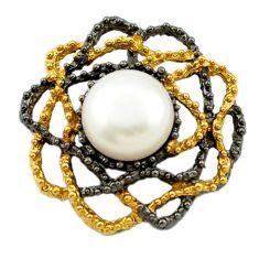 Natural white pearl black rhodium 925 silver 14k gold pendant jewelry a70811