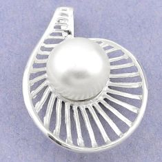 925 sterling silver natural white pearl round pendant jewelry a70968