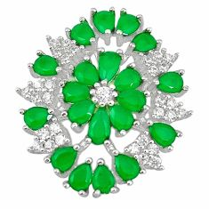 Natural green emerald quartz topaz 925 sterling silver pendant a71051