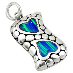 Green australian opal (lab) 925 sterling silver heart pendant jewelry a74025