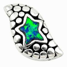 Green australian opal (lab) 925 sterling silver pendant jewelry a74050