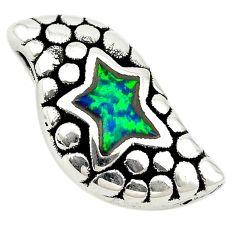 Green australian opal (lab) 925 sterling silver pendant jewelry a74051