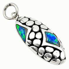 Green australian opal (lab) 925 sterling silver pendant jewelry a74053