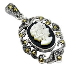 Natural white blister pearl carved lady face marcasite 925 silver pendant a74130