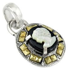 925 silver natural white blister pearl carved lady face marcasite pendant a74131