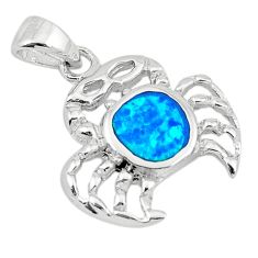 925 sterling silver blue australian opal (lab) crab pendant jewelry a74235