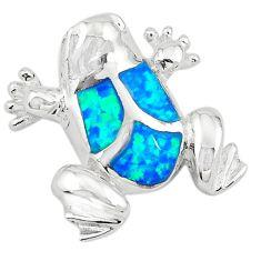 Blue australian opal (lab) enamel 925 silver frog pendant jewelry a74241
