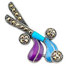 Fine marcasite enamel 925 silver hockey stick charm pendant jewelry a74269