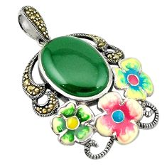 Natural green chalcedony marcasite enamel 925 silver flower pendant a74323