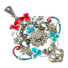 Fine marcasite multi color enamel 925 sterling silver pendant jewelry a74552