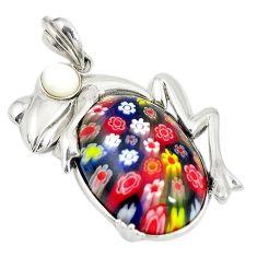 Multi color italian murano glass pearl 925 silver frog pendant a74591