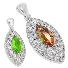 Green alexandrite (lab) white topaz 925 sterling silver pendant jewelry a75151