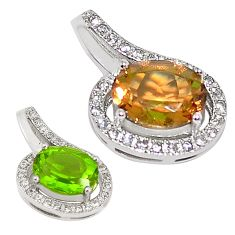 Green alexandrite (lab) topaz 925 sterling silver pendant jewelry a75153
