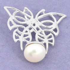 Natural white pearl round 925 sterling silver pendant jewelry a75277